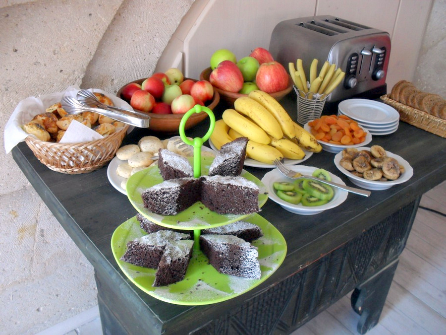Breakfast with fruits, homemade pastries and cookies