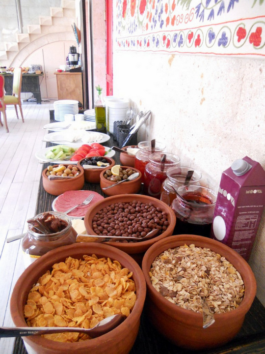 Breakfast - Cereals, Cheese, Olives, Selection of Jam and Honey