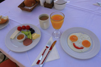 Selection of eggs menu and local bread at breakfast