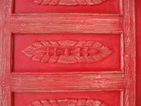 Painted old red door of lobby